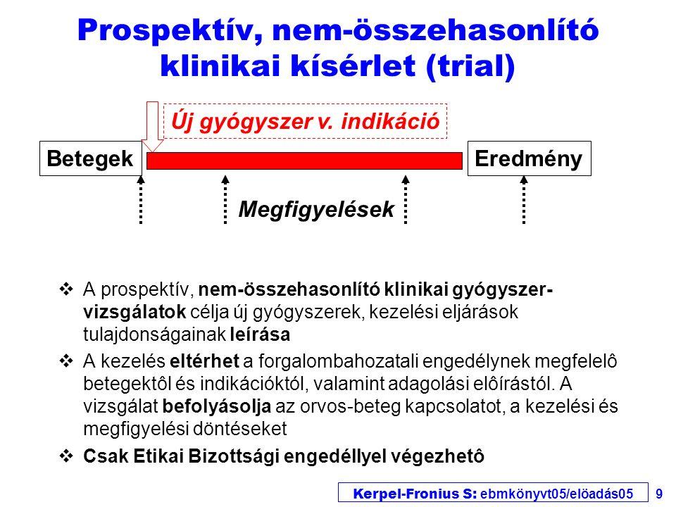 Kerpel-Fronius S: ebmkönyvt05/elöadás05 9 Prospektív, nem-összehasonlító klinikai kísérlet (trial) vA prospektív, nem-összehasonlító klinikai gyógysze