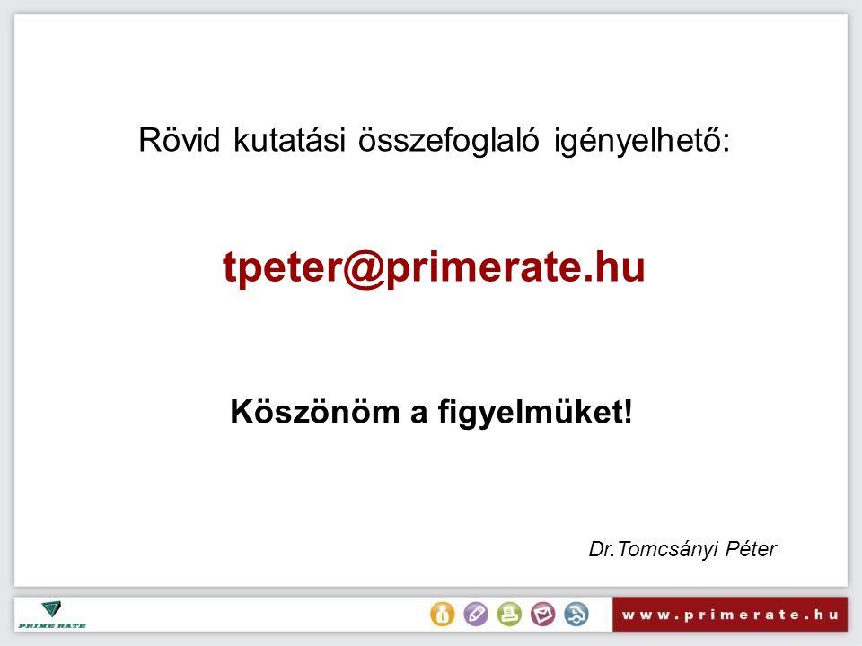 Rövid kutatási összefoglaló igényelhető: tpeter@primerate.hu Köszönöm a figyelmüket! Dr.Tomcsányi Péter