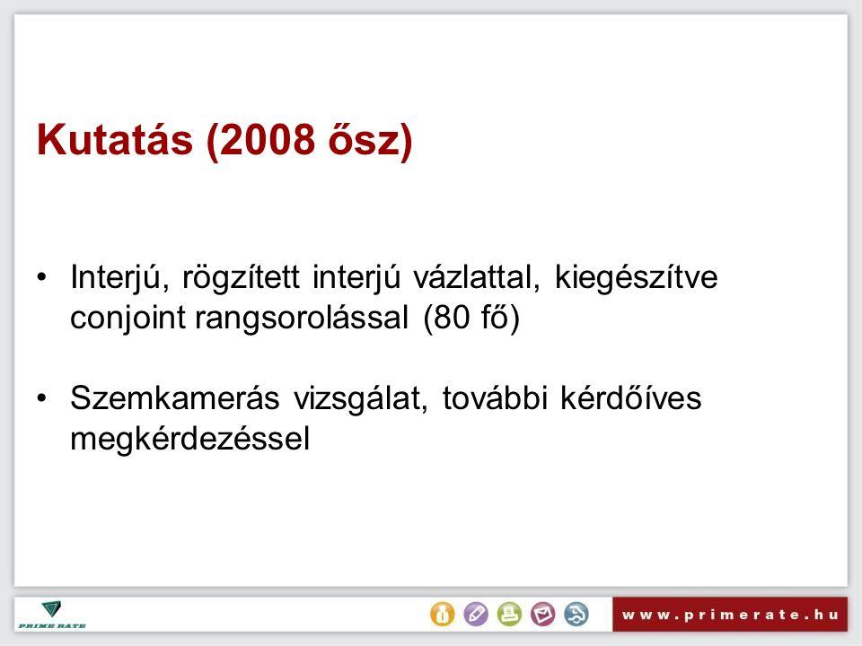 Kutatás (2008 ősz) Interjú, rögzített interjú vázlattal, kiegészítve conjoint rangsorolással (80 fő) Szemkamerás vizsgálat, további kérdőíves megkérdezéssel