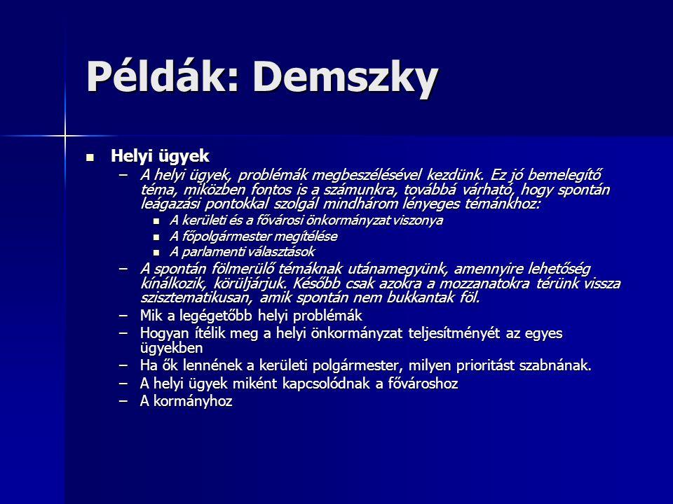 Példák: Demszky Helyi ügyek Helyi ügyek –A helyi ügyek, problémák megbeszélésével kezdünk.