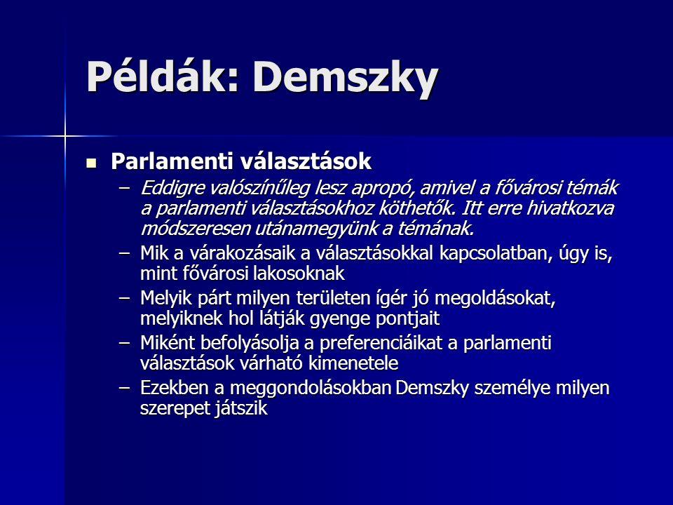 Példák: Demszky Parlamenti választások Parlamenti választások –Eddigre valószínűleg lesz apropó, amivel a fővárosi témák a parlamenti választásokhoz köthetők.