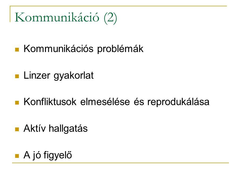 Kommunikáció (2) Kommunikációs problémák Linzer gyakorlat Konfliktusok elmesélése és reprodukálása Aktív hallgatás A jó figyelő
