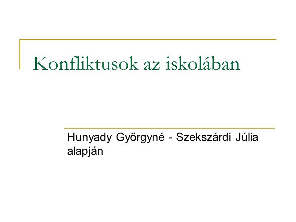 Konfliktusok az iskolában Hunyady Györgyné - Szekszárdi Júlia alapján