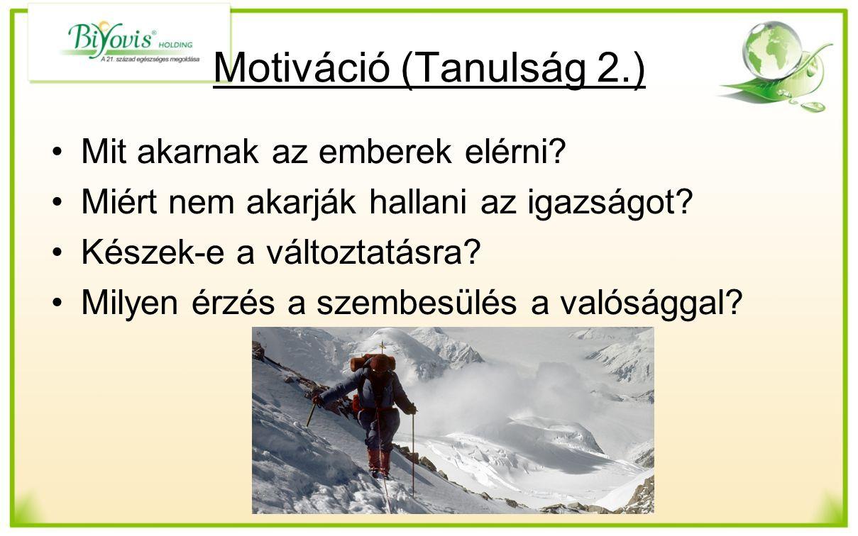 Motiváció (Tanulság 2.) Mit akarnak az emberek elérni.