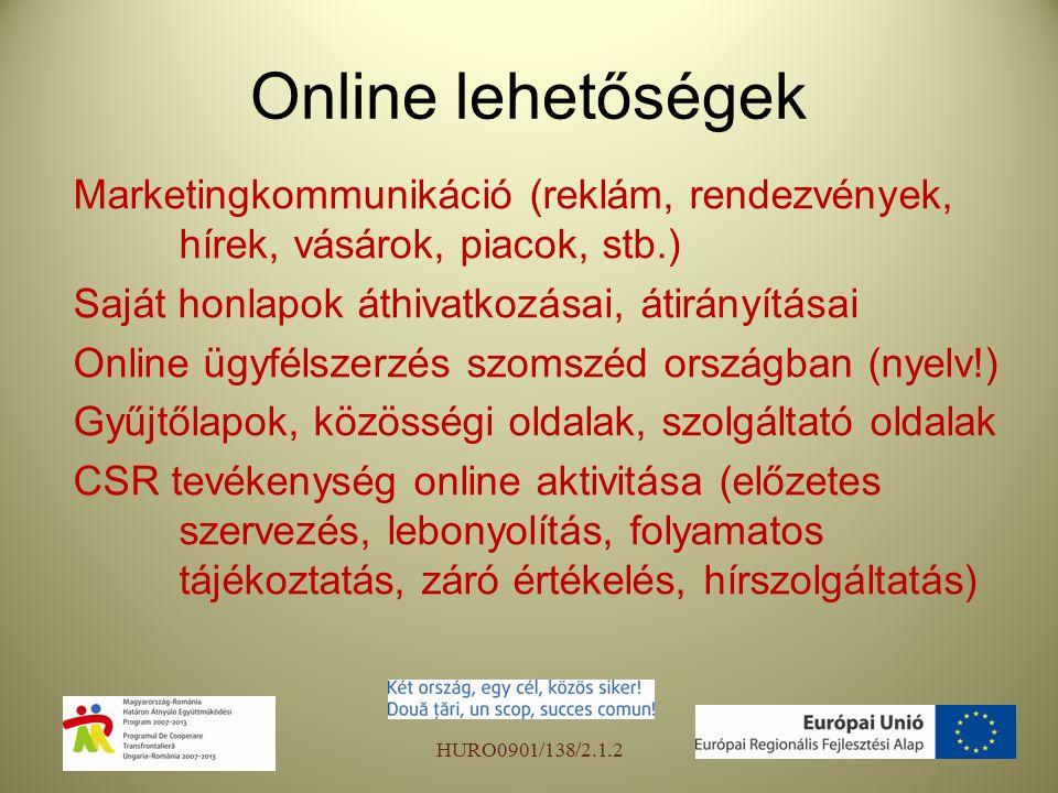 Online lehetőségek Marketingkommunikáció (reklám, rendezvények, hírek, vásárok, piacok, stb.) Saját honlapok áthivatkozásai, átirányításai Online ügyfélszerzés szomszéd országban (nyelv!) Gyűjtőlapok, közösségi oldalak, szolgáltató oldalak CSR tevékenység online aktivitása (előzetes szervezés, lebonyolítás, folyamatos tájékoztatás, záró értékelés, hírszolgáltatás) HURO0901/138/2.1.2