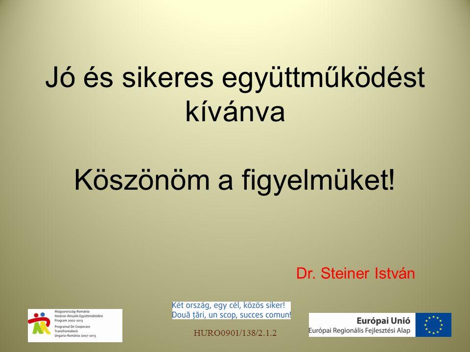Jó és sikeres együttműködést kívánva Köszönöm a figyelmüket! Dr. Steiner István HURO0901/138/2.1.2