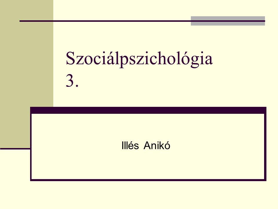 Szociálpszichológia 3. Illés Anikó