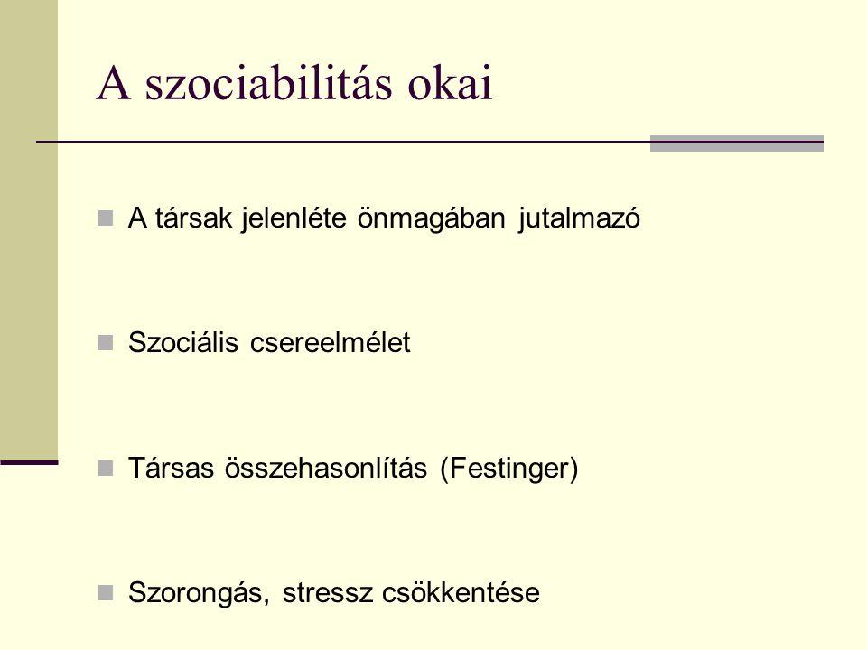 A szociabilitás okai A társak jelenléte önmagában jutalmazó Szociális csereelmélet Társas összehasonlítás (Festinger) Szorongás, stressz csökkentése