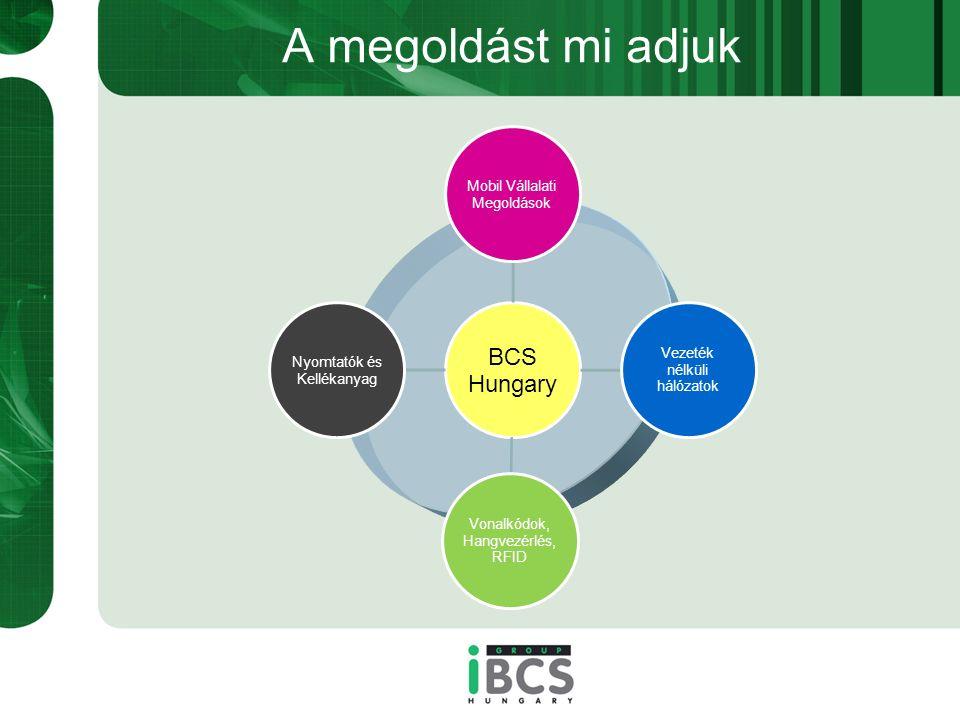 A megoldást mi adjuk BCS Hungary Mobil Vállalati Megoldások Vezeték nélküli hálózatok Vonalkódok, Hangvezérlés, RFID Nyomtatók és Kellékanyag