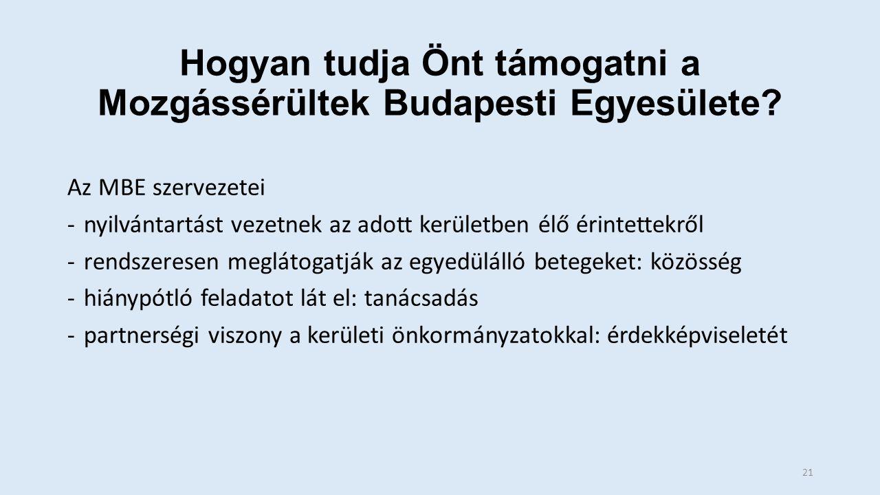 Hogyan tudja Önt támogatni a Mozgássérültek Budapesti Egyesülete.