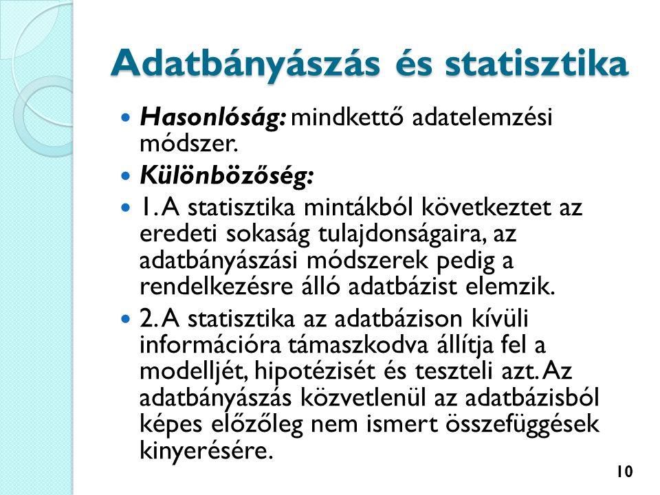 Adatbányászás és statisztika Hasonlóság: mindkettő adatelemzési módszer.