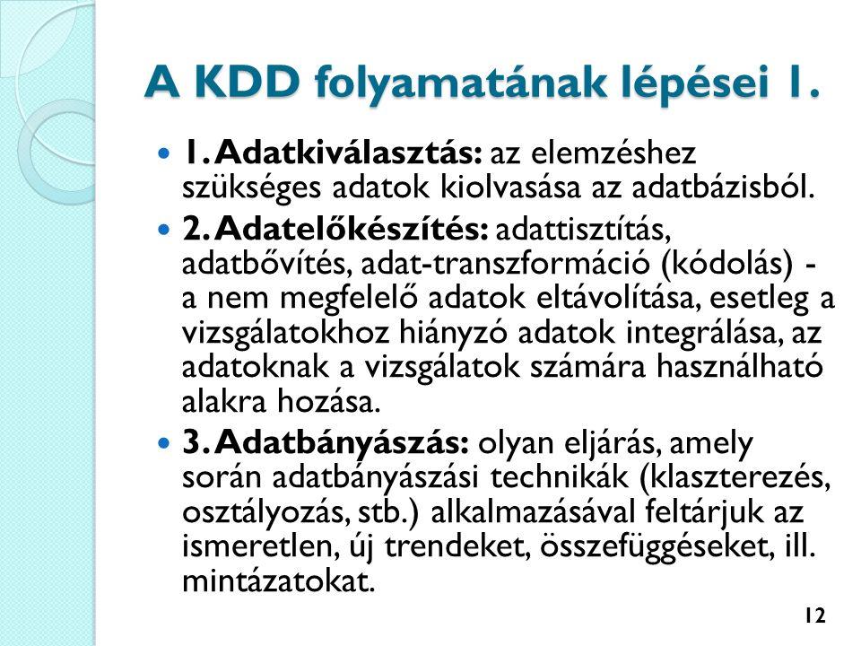 A KDD folyamatának lépései 1. 1.