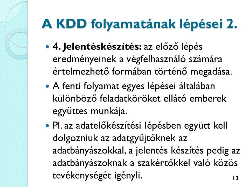 A KDD folyamatának lépései 2. 4.