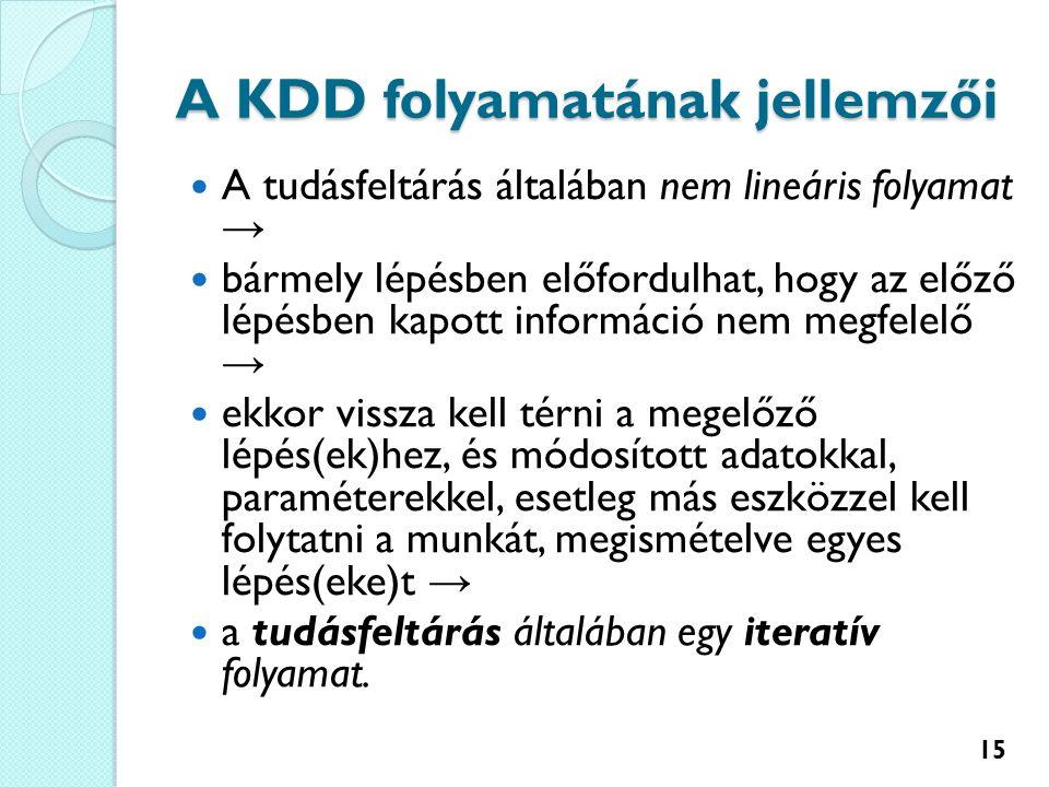 A KDD folyamatának jellemzői A tudásfeltárás általában nem lineáris folyamat → bármely lépésben előfordulhat, hogy az előző lépésben kapott információ nem megfelelő → ekkor vissza kell térni a megelőző lépés(ek)hez, és módosított adatokkal, paraméterekkel, esetleg más eszközzel kell folytatni a munkát, megismételve egyes lépés(eke)t → a tudásfeltárás általában egy iteratív folyamat.
