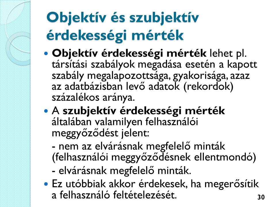 Objektív és szubjektív érdekességi mérték Objektív érdekességi mérték lehet pl.
