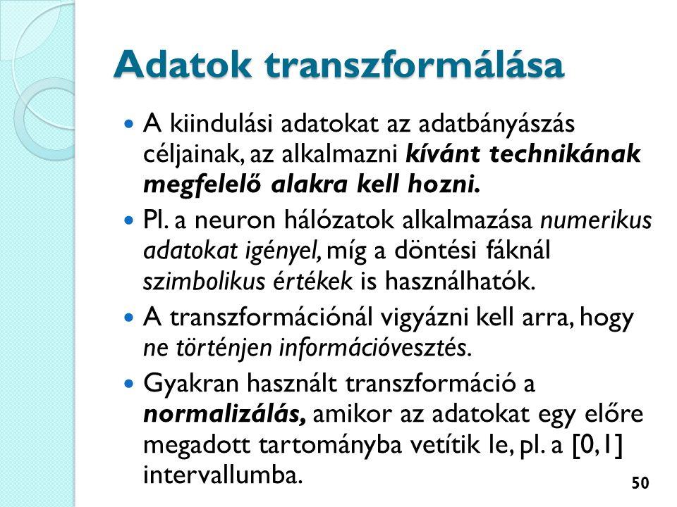 Adatok transzformálása A kiindulási adatokat az adatbányászás céljainak, az alkalmazni kívánt technikának megfelelő alakra kell hozni.