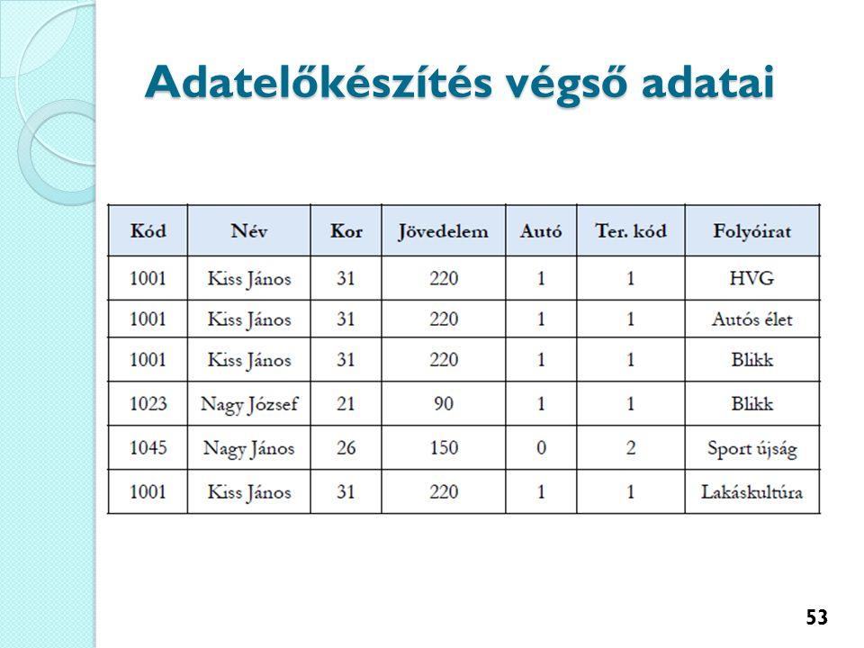 Adatelőkészítés végső adatai 53