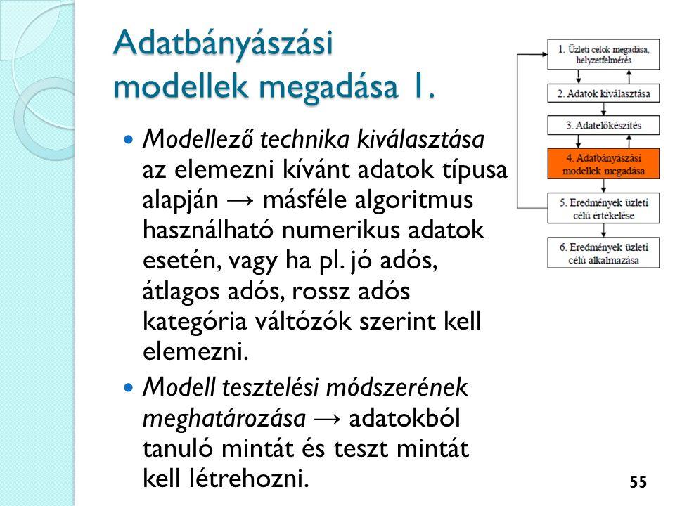 Adatbányászási modellek megadása 1.