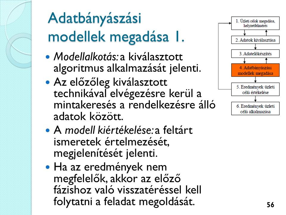 Adatbányászási modellek megadása 1. Modellalkotás: a kiválasztott algoritmus alkalmazását jelenti.