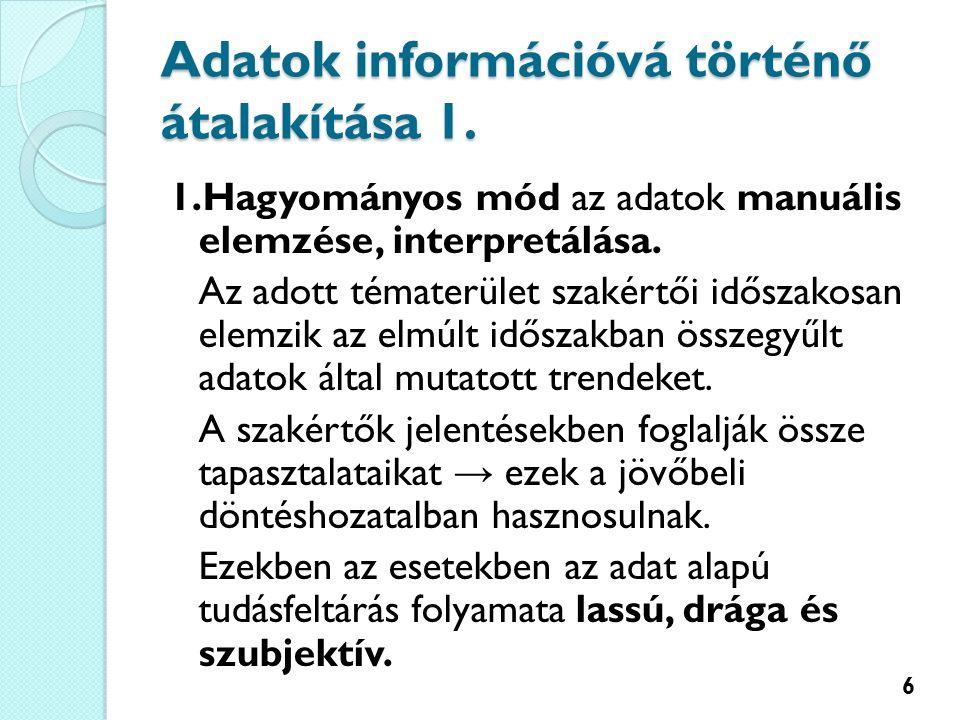 Adatok információvá történő átalakítása 1.