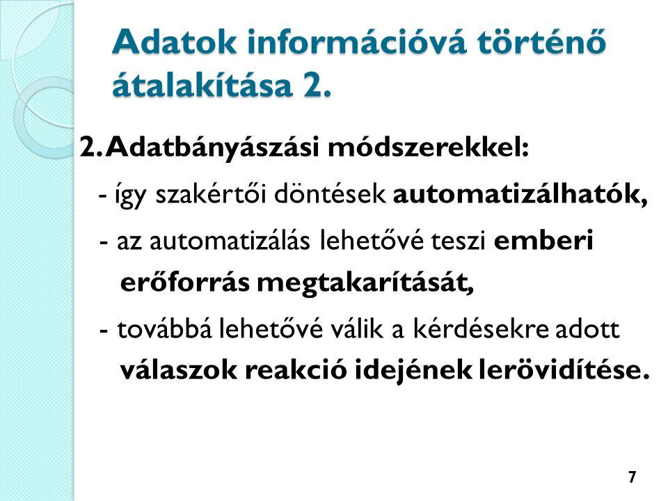 Adatok információvá történő átalakítása 2. 2.