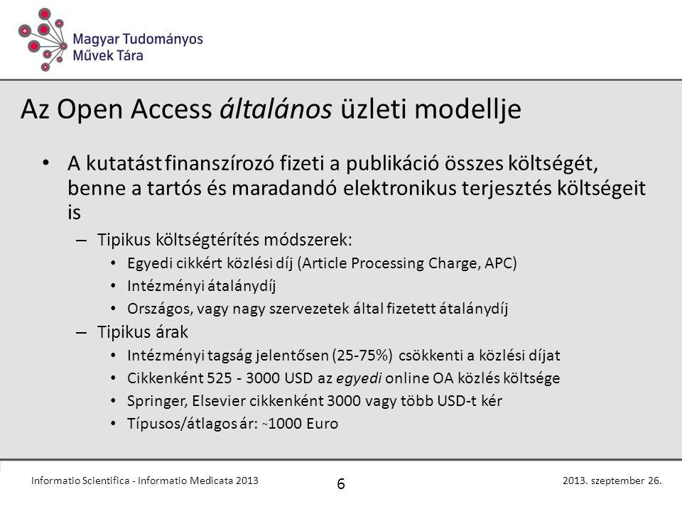 Az Open Access általános üzleti modellje A kutatást finanszírozó fizeti a publikáció összes költségét, benne a tartós és maradandó elektronikus terjesztés költségeit is – Tipikus költségtérítés módszerek: Egyedi cikkért közlési díj (Article Processing Charge, APC) Intézményi átalánydíj Országos, vagy nagy szervezetek által fizetett átalánydíj – Tipikus árak Intézményi tagság jelentősen (25-75%) csökkenti a közlési díjat Cikkenként 525 - 3000 USD az egyedi online OA közlés költsége Springer, Elsevier cikkenként 3000 vagy több USD-t kér Típusos/átlagos ár: ~ 1000 Euro 6 2013.