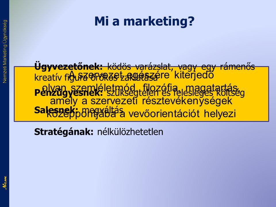 Nem Nemzeti Marketing Ügynökség A szervezet egészére kiterjedő olyan szemléletmód, filozófia, magatartás, amely a szervezeti résztevékenységek középpontjába a vevőorientációt helyezi Mi a marketing.