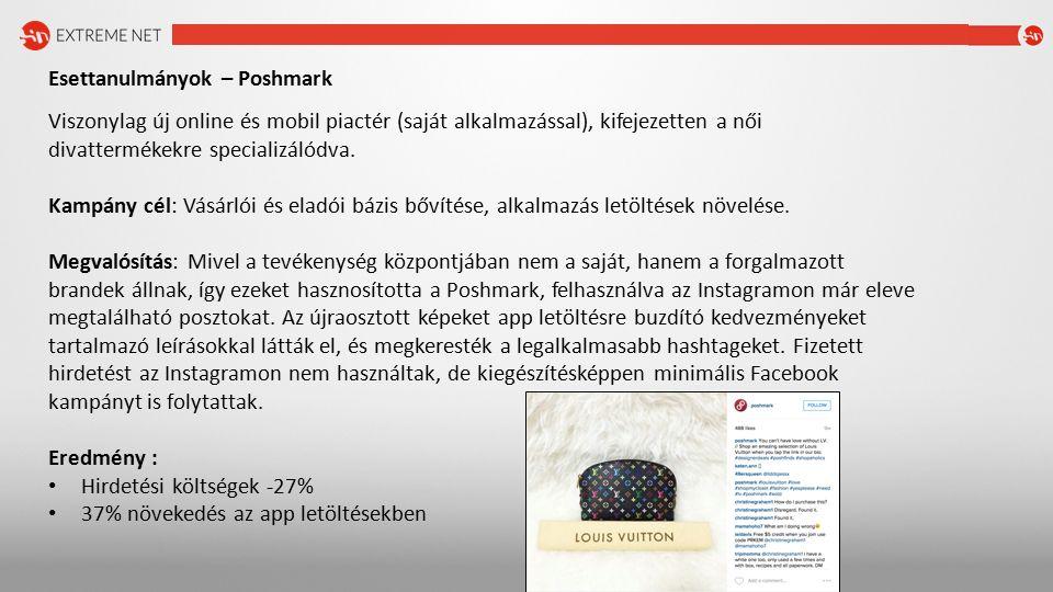 Esettanulmányok – Poshmark Viszonylag új online és mobil piactér (saját alkalmazással), kifejezetten a női divattermékekre specializálódva.