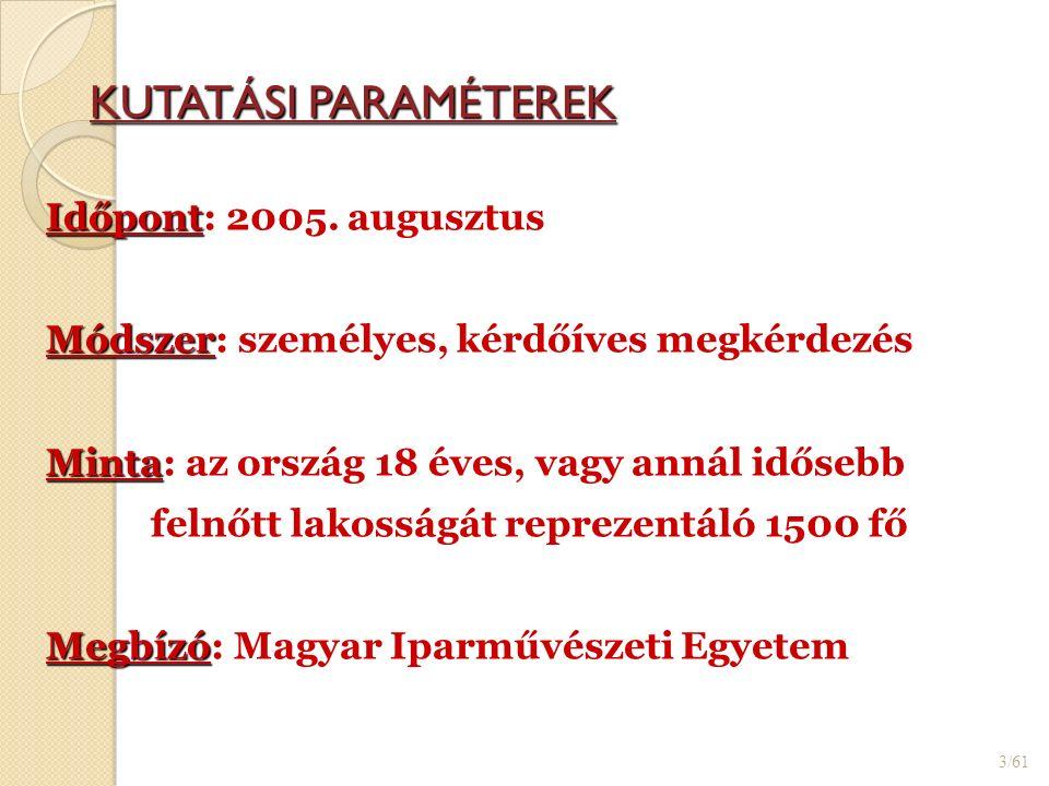 KUTATÁSI PARAMÉTEREK 3/61 Időpont Időpont: 2005.