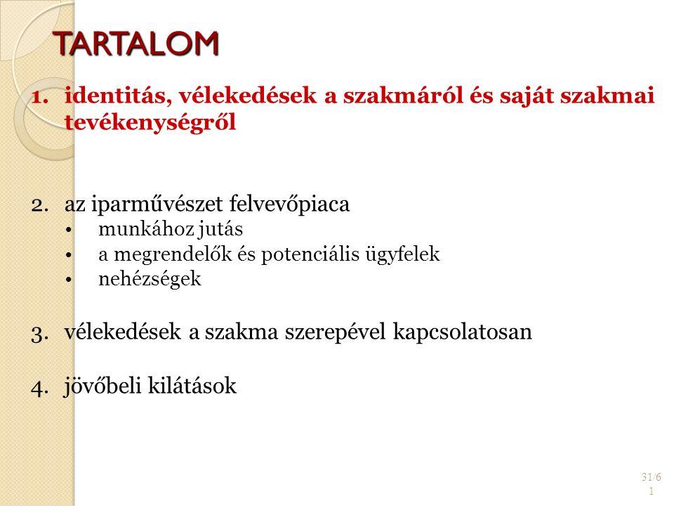 TARTALOM 31/6 1 1. 1.identitás, vélekedések a szakmáról és saját szakmai tevékenységről 2.