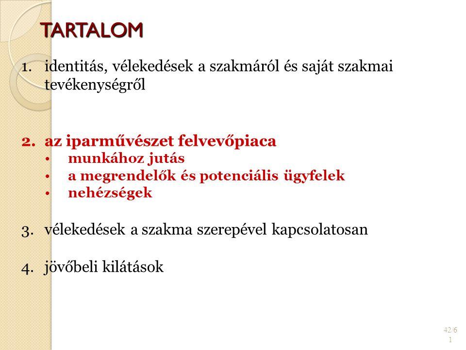 TARTALOM 42/6 1 1. 1.identitás, vélekedések a szakmáról és saját szakmai tevékenységről 2.
