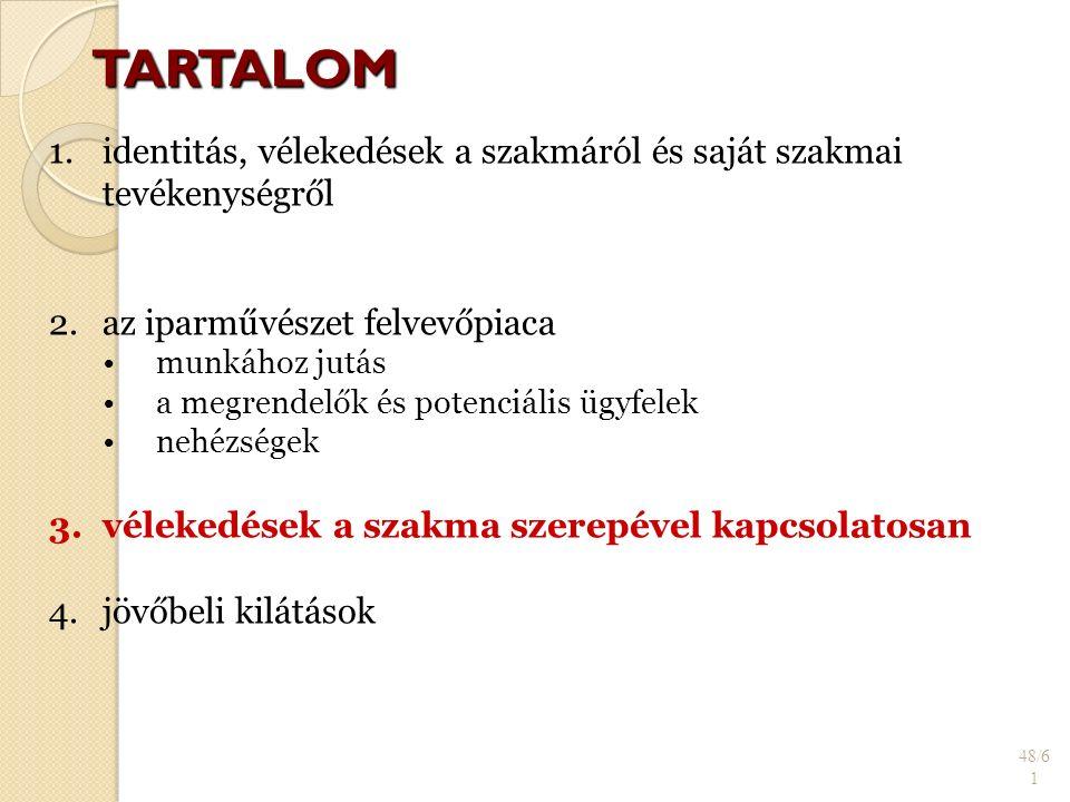 TARTALOM 48/6 1 1. 1.identitás, vélekedések a szakmáról és saját szakmai tevékenységről 2.