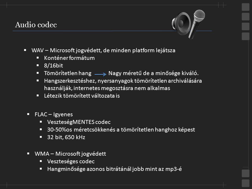 Audio codec  WMA – Microsoft jogvédett  Veszteséges codec  Hangminősége azonos bitrátánál jobb mint az mp3-é  WAV – Microsoft jogvédett, de minden