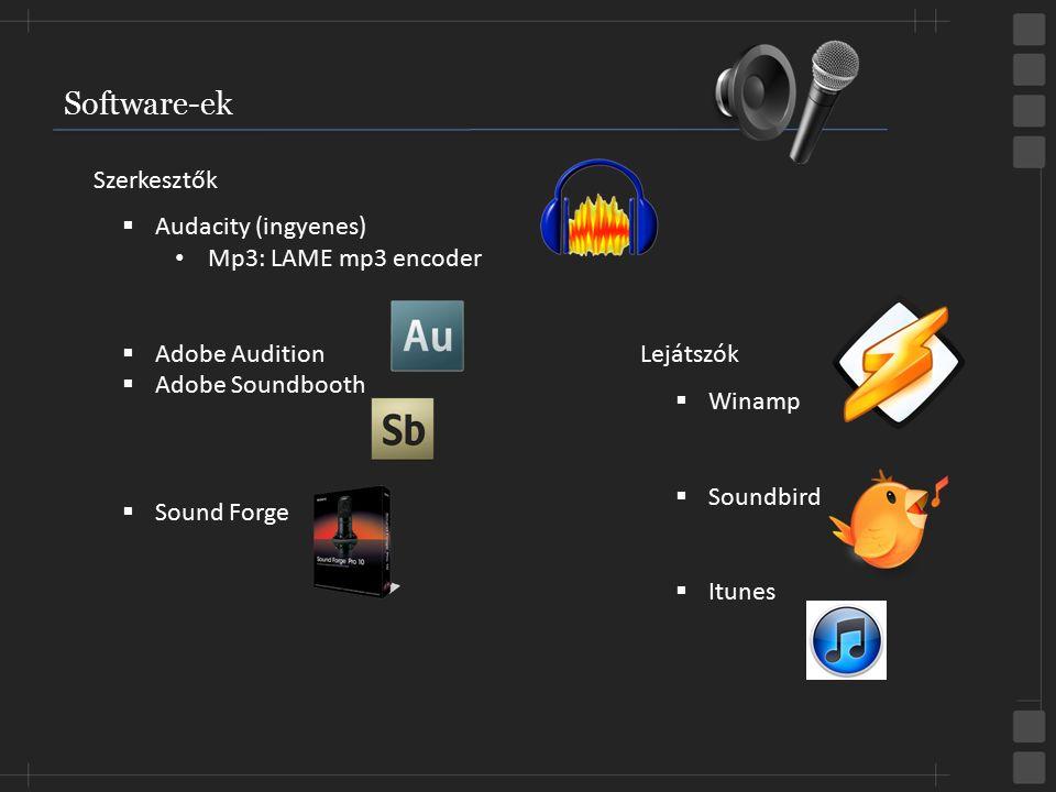 Software-ek  Audacity (ingyenes) Mp3: LAME mp3 encoder  Adobe Audition  Adobe Soundbooth  Sound Forge  Winamp  Soundbird  Itunes Szerkesztők Le