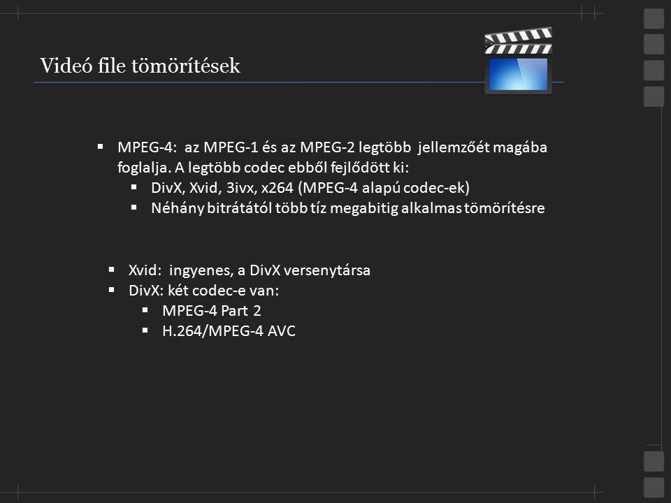 Videó file tömörítések  MPEG-4: az MPEG-1 és az MPEG-2 legtöbb jellemzőét magába foglalja. A legtöbb codec ebből fejlődött ki:  DivX, Xvid, 3ivx, x2