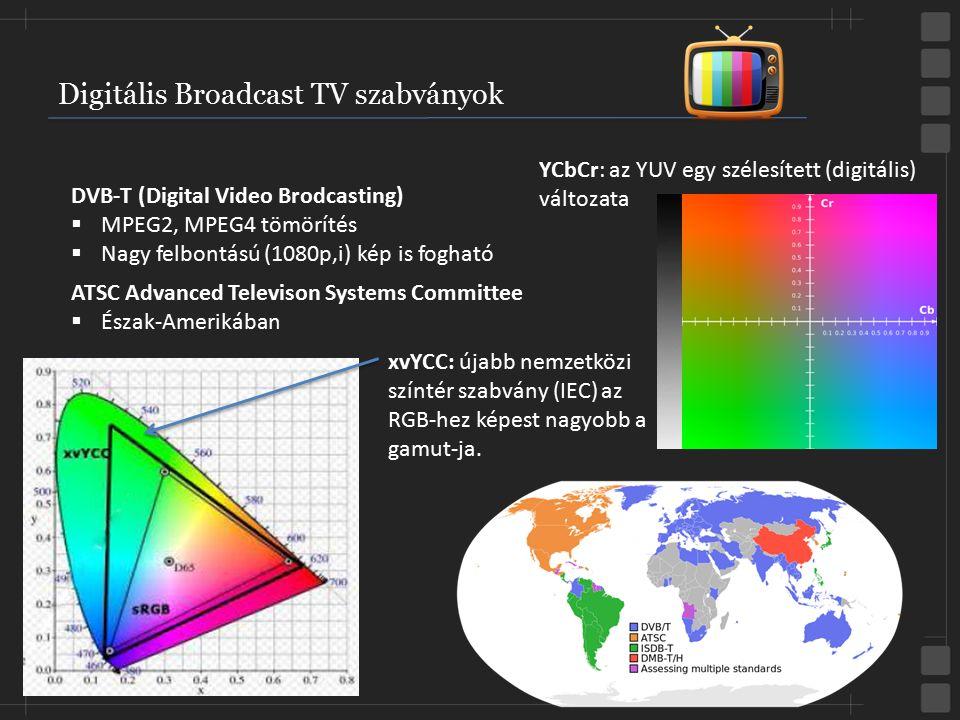 Digitális Broadcast TV szabványok DVB-T (Digital Video Brodcasting)  MPEG2, MPEG4 tömörítés  Nagy felbontású (1080p,i) kép is fogható ATSC Advanced