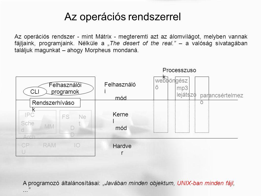 """Az operációs rendszerrel A programozó általánosításai: """"Javában minden objektum, UNIX-ban minden fájl,..."""" Az operációs rendszer - mint Mátrix - megte"""