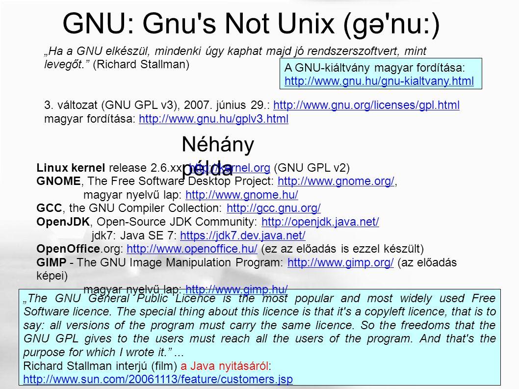 "GNU: Gnu's Not Unix (gə'nu:) A GNU-kiáltvány magyar fordítása: http://www.gnu.hu/gnu-kialtvany.html ""Ha a GNU elkészül, mindenki úgy kaphat majd jó re"