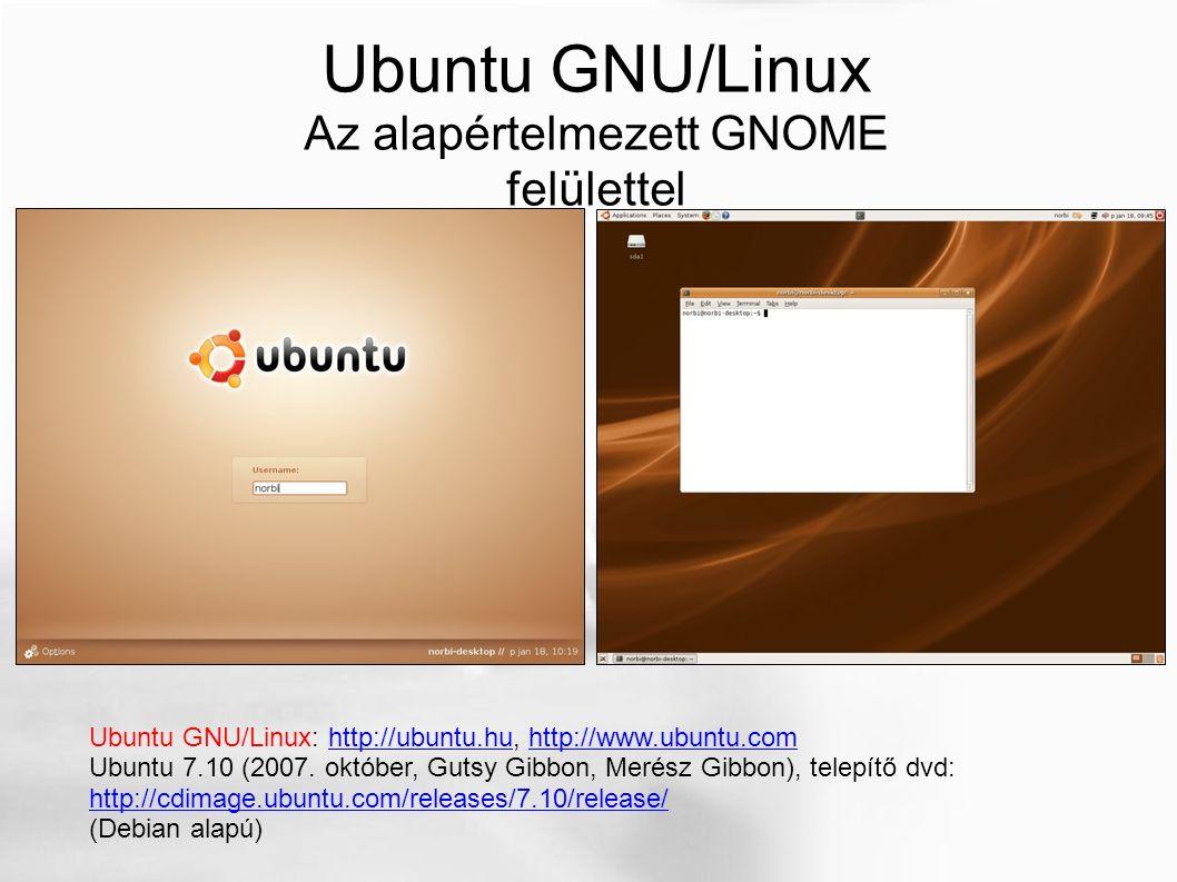 Ubuntu GNU/Linux Az alapértelmezett GNOME felülettel Ubuntu GNU/Linux: http://ubuntu.hu, http://www.ubuntu.comhttp://ubuntu.huhttp://www.ubuntu.com Ub