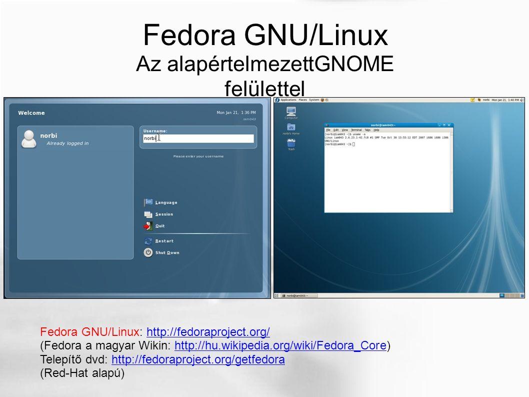Fedora GNU/Linux Az alapértelmezettGNOME felülettel Fedora GNU/Linux: http://fedoraproject.org/http://fedoraproject.org/ (Fedora a magyar Wikin: http: