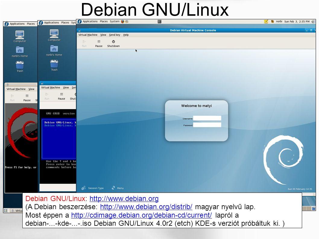 Debian GNU/Linux Debian GNU/Linux: http://www.debian.orghttp://www.debian.org (A Debian beszerzése: http://www.debian.org/distrib/ magyar nyelvű lap.h