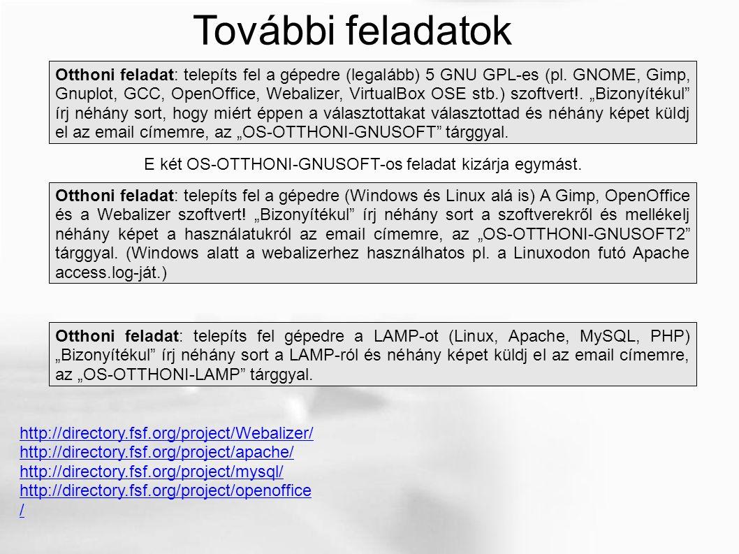 Otthoni feladat: telepíts fel a gépedre (legalább) 5 GNU GPL-es (pl. GNOME, Gimp, Gnuplot, GCC, OpenOffice, Webalizer, VirtualBox OSE stb.) szoftvert!