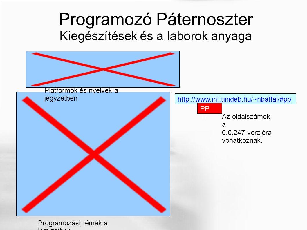 Programozó Páternoszter Kiegészítések és a laborok anyaga http://www.inf.unideb.hu/~nbatfai/#pp Platformok és nyelvek a jegyzetben Programozási témák