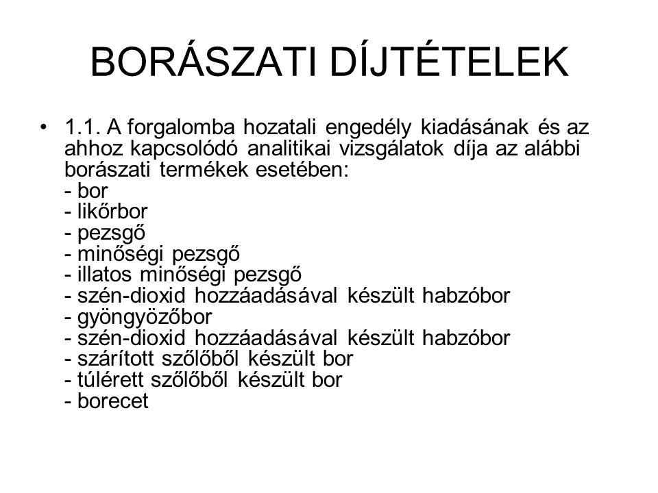 BORÁSZATI DÍJTÉTELEK 1.1.