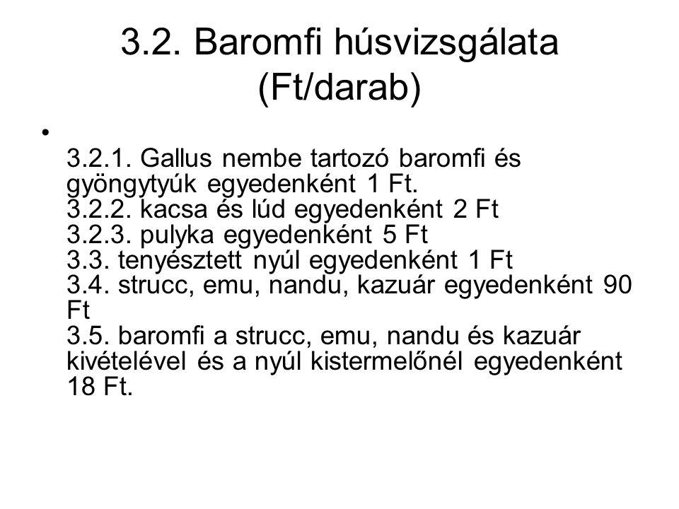 3.2. Baromfi húsvizsgálata (Ft/darab) 3.2.1.