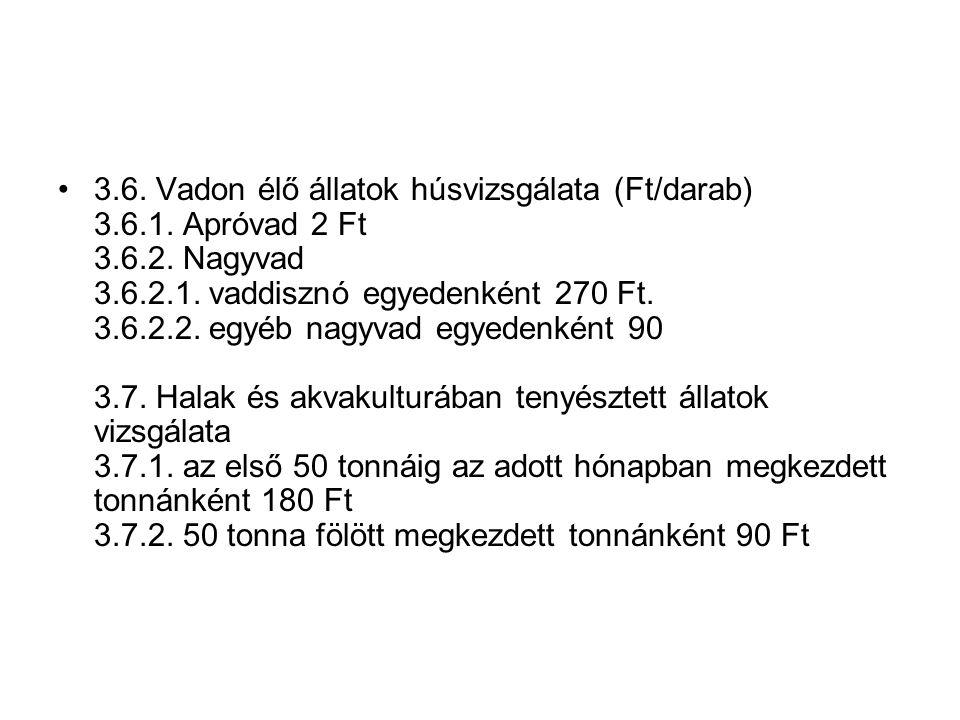 3.6. Vadon élő állatok húsvizsgálata (Ft/darab) 3.6.1.