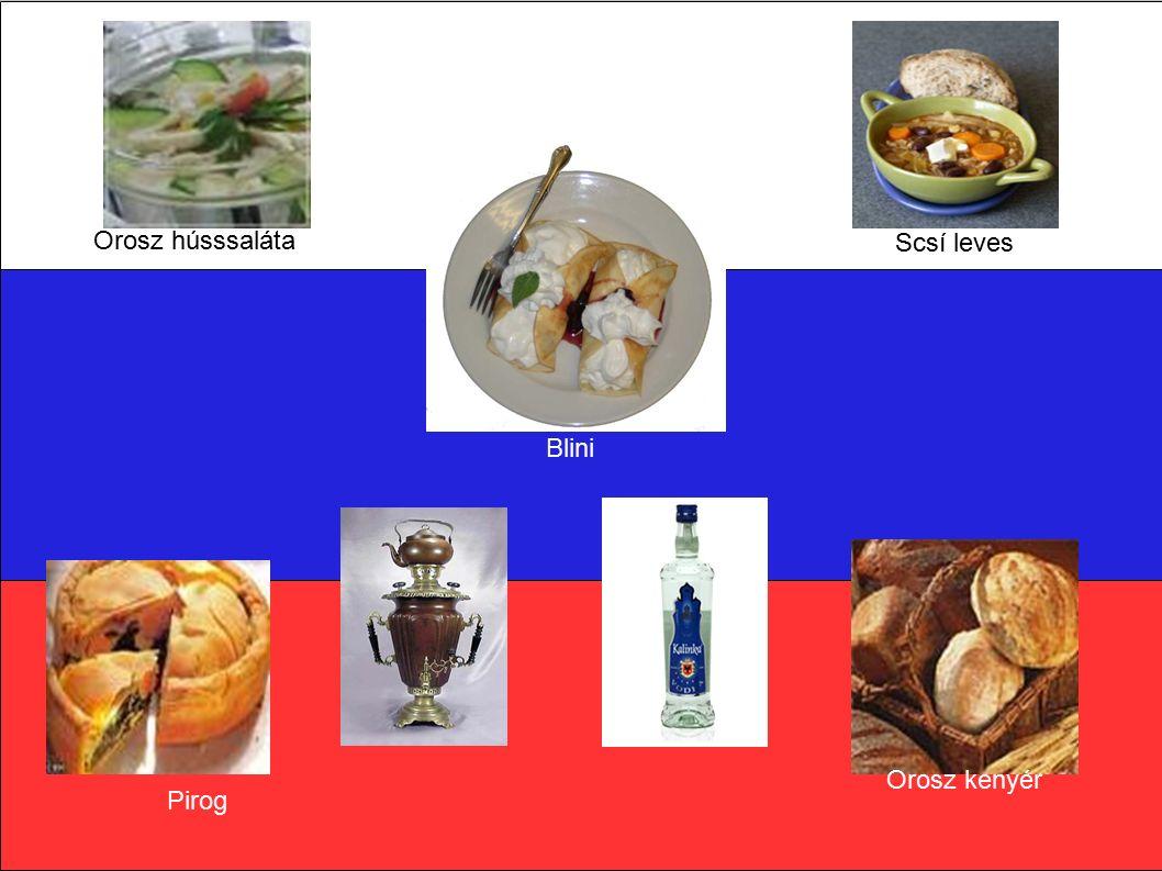 Orosz hússsaláta Scsí leves Pirog Orosz kenyér Blini