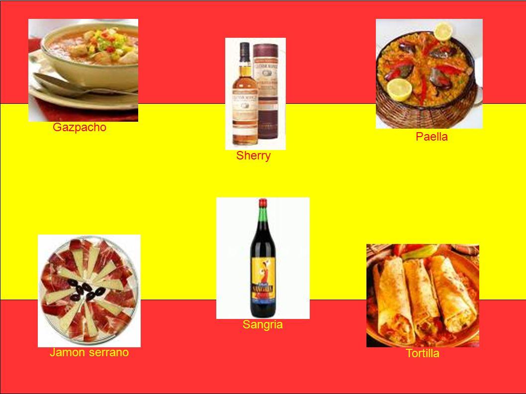 Gazpacho Paella Jamon serrano Tortilla Sherry Sangria