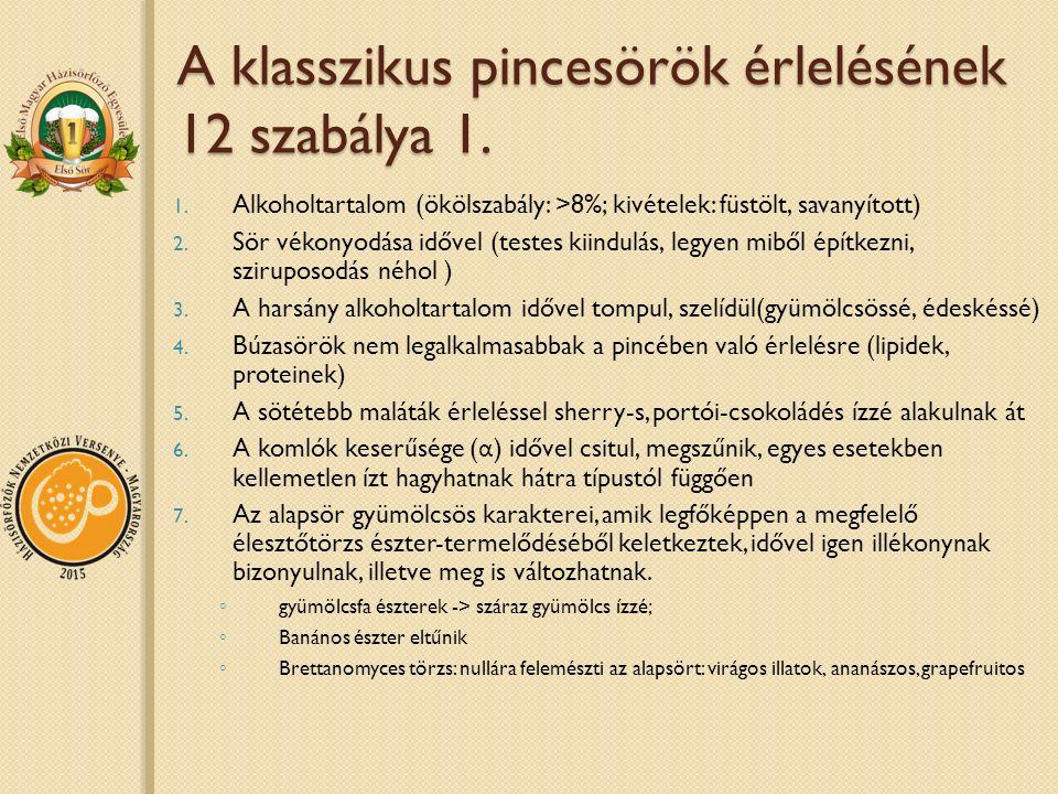 A klasszikus pincesörök érlelésének 12 szabálya 1. 1. Alkoholtartalom (ökölszabály: >8%; kivételek: füstölt, savanyított) 2. Sör vékonyodása idővel (t
