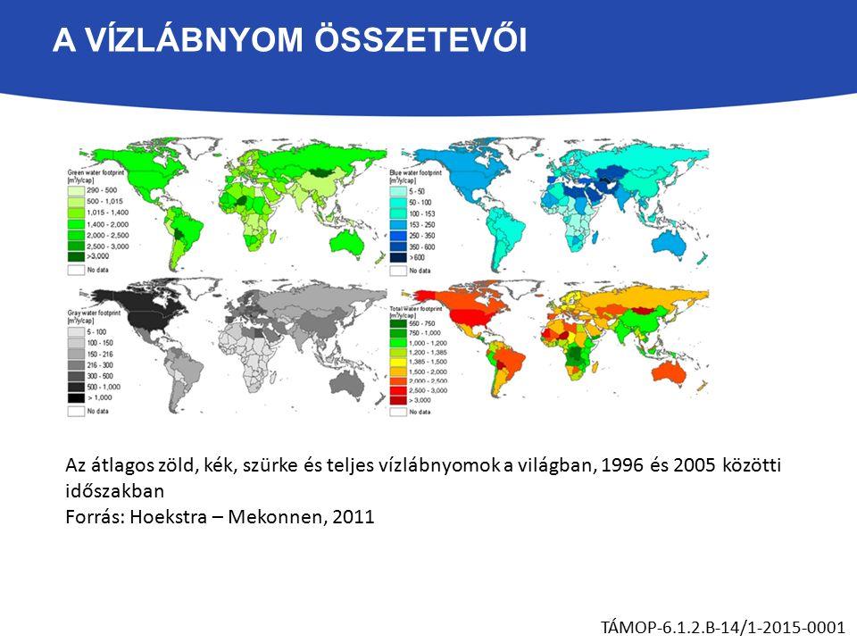 A VÍZLÁBNYOM ÖSSZETEVŐI Az átlagos zöld, kék, szürke és teljes vízlábnyomok a világban, 1996 és 2005 közötti időszakban Forrás: Hoekstra – Mekonnen, 2